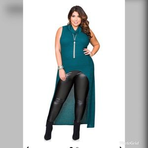 Ashley Stewart Ribbed Cowl Neck Hi/Low Duster